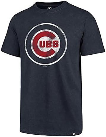 MLB Men's Distressed Imprint Match Team Color Primary Logo Word Mark T-Shirt