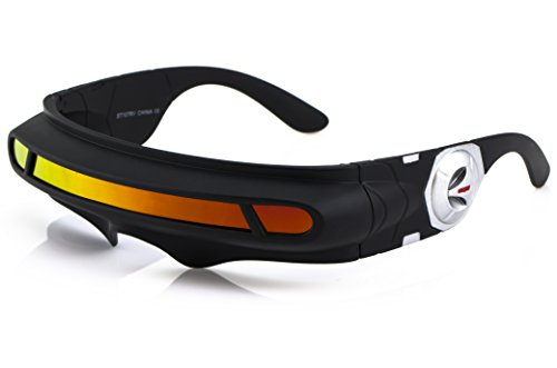 Futuristic Space Alien Costume Party Cyclops Shield Colored Mirror Mono Lens Wrap Sunglasses 147mm (Orange Mirror, 147)