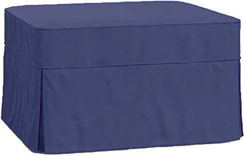 (The Cotton Ottoman Slipcover Replacement. It Fits Pottery Barn PB Basic Ottoman. Dense Cotton Sofa Footstool Cover (Blue))