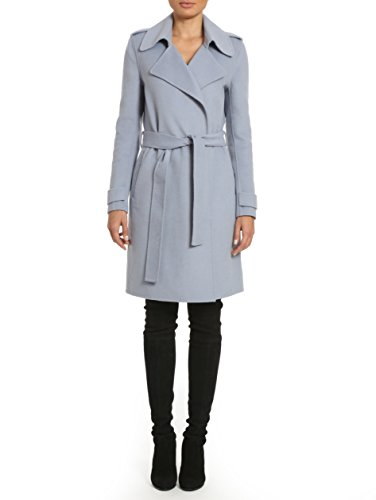 (Badgley Mischka Women's Double Face Wool Wrap Trench Coat, Mineral M)
