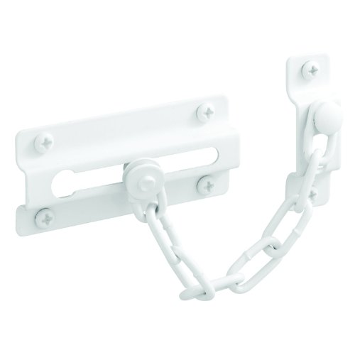 Prime-Line U 9852 Chain Door Guard,  3-5/16 in., Steel Construction, White (Security Door Chain)