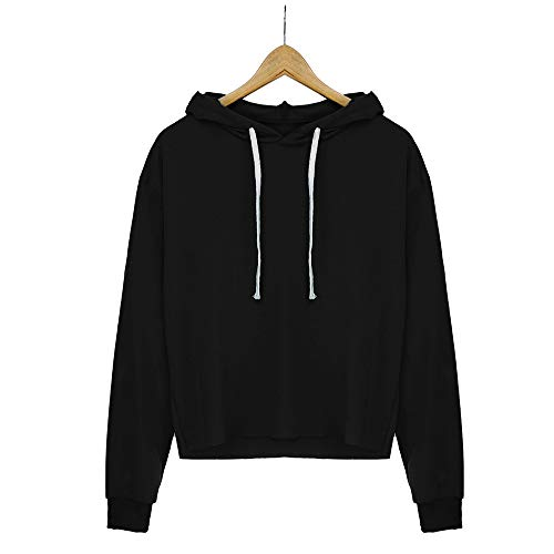 Tops Neck Color Solid Long Black Blouse Sweatshirt Round Womens Sleeve Hooded wCUgTFqc