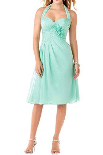 Toscana novia dulzura flores Cabestro rodilla-longitud vestidos de noche de las damas de honor de la gasa vestidos cortos del cóctel Verde