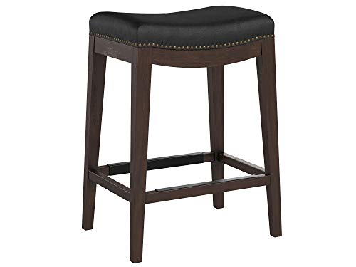 (Stone & Beam Kari Nailhead Trim Saddle Kitchen Counter Height Backless Bar Stool, 25.9 Inch Height, Black Leather, Wood)