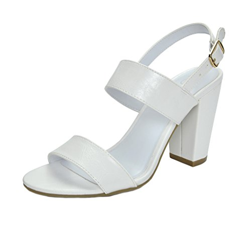 (TOETOS Women's STELLA-01 White Pu Open Toe Mid Chunky Heel Pump Sandals - 5.5 M US)