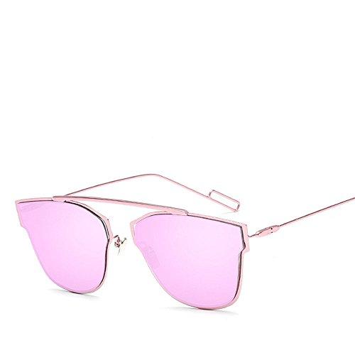 Chahua Lunettes de soleil rétro lunettes de soleil de mode en Europe et les lunettes de soleil métal réfléchissant, fille