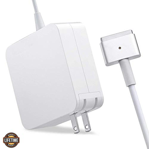 Mac Book Air Charger, Great Replacement 45W Magsafe 2 Magnetic T-Tip Power Adapter Charger for MacBook Air 11-inch and 13-inch (Mid 2012 or Later) ... (White) (Computer Cord Mac)