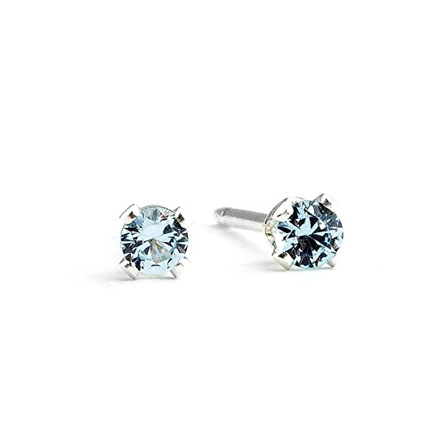 Aqua Blue Gem - 3mm Tiny Aqua Baby Blue Aquamarine Gemstone Stud Earrings in Sterling Silver - March Birthstone