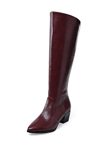 BalaMasa Womens Chunky Heels Back Zipper Winkle Pinker Imitated Leather Boots Red PYcdvy1L54