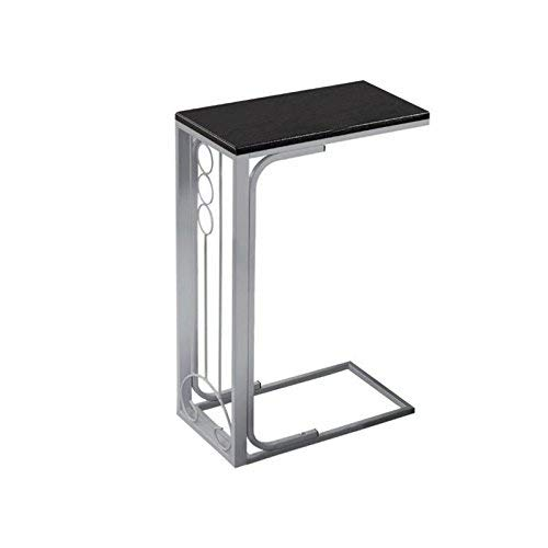 Monarch Specialties Black Top Silver Metal Accent Table