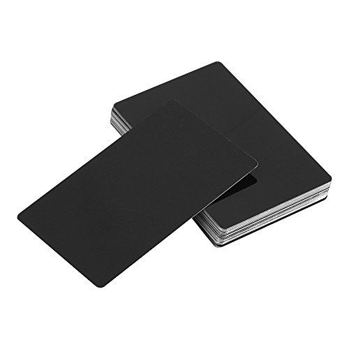 Metal Business Cards - 50Pcs/Set Laser Mark Engraved Blank Metal Business Cards 5 Colors Optional (Black)