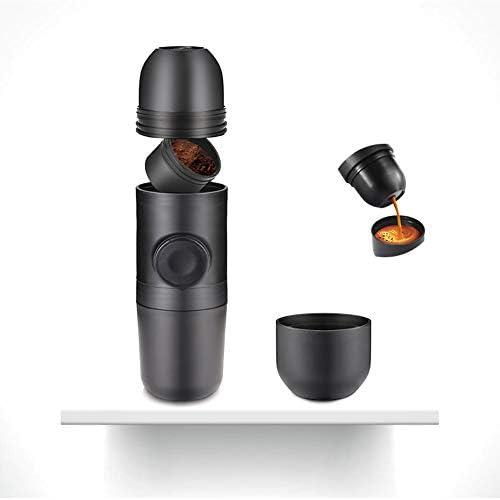 AIZYR Kleine Reisekaffeemaschine, Tragbare Espressomaschine - Von Hand Über Die Kolbenbetätigung Betätigt, Edelstahl Silikon (Schwarz)