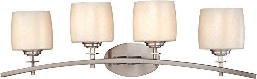 Minka Lavery Wall Light Fixtures 6184-84 Raiden Reversible Glass Bath Vanity Lighting, 4 Light, 400 Watts, Nickel