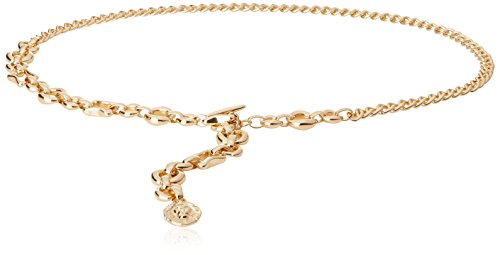 Ak Anne Klein Women's Anne Klein 10mm Simple Chain Belt, Gold, L/XL