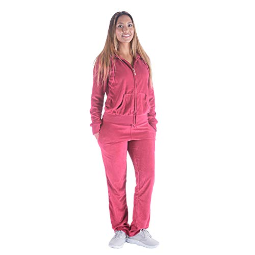 TanBridge Women Velour Tracksuit Set 2 Piece Outfit Hoodie & Sweatpants Jogger Sets Coral XL ()