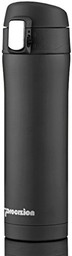 Insulated Stainless Steel Vacuum Flask Travel Mug, Compact Leak Proof Beverage Thermos Bottle, Black - 16 oz ()