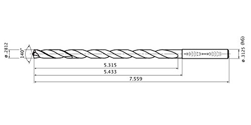 Mitsubishi Materials MWS0710X15DB MWS Series Solid Carbide Drill 8 mm Shank Dia. 7.1 mm Cutting Dia 1.3 mm Point Length 15 mm Hole Depth Internal Coolant