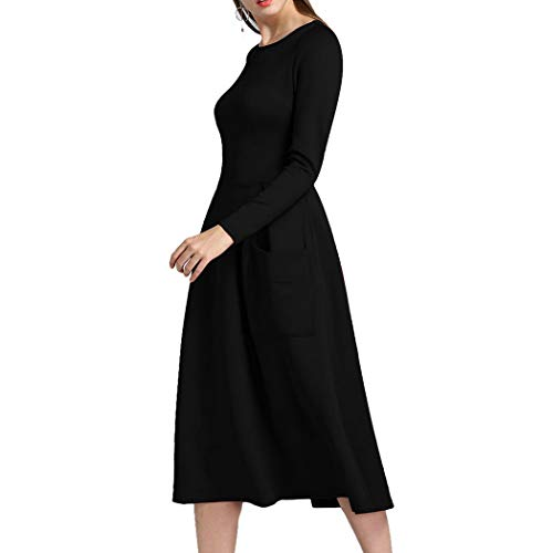 Nero Pocket Zip Premewish Manica Dress Donna Lunga Da eEHbID9Y2W