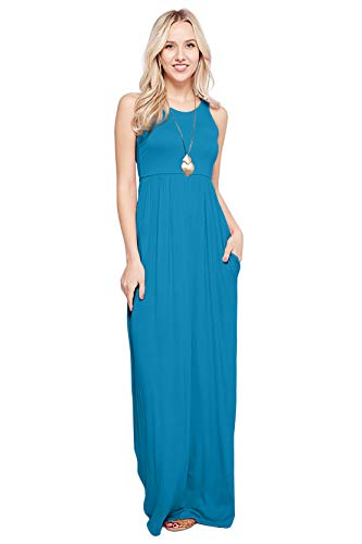 (Maxi Dresses for Women Solid Lightweight Long Racerback Sleeveless W/Pocket -Turquoise (Large))