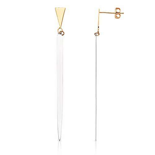 Modern Triangle Drop Earring in 14K Yellow Gold by Jewel Connection