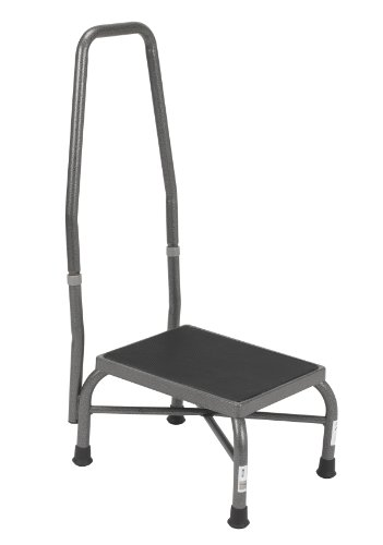 (Drive Medical Heavy Duty Bariatric Footstool with Handrail and Non Skid Rubber Platform, Silver Vein)