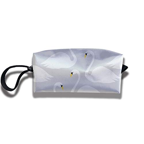 Cosmetic Bags With Zipper Makeup Bag White Swan Middle Wallet Hangbag Wristlet Holder -