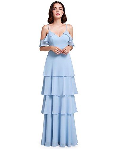 Ever-Pretty Women Cold Shoulder Floor Length Evening Dresses Summer Dress 6US Sky Blue