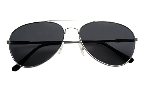 German Officer Fancy Dress Costume (Adults Black Aviator Captain Pilot Officer Sunglasses Fancy Dress Accessory by BOLAND BV)