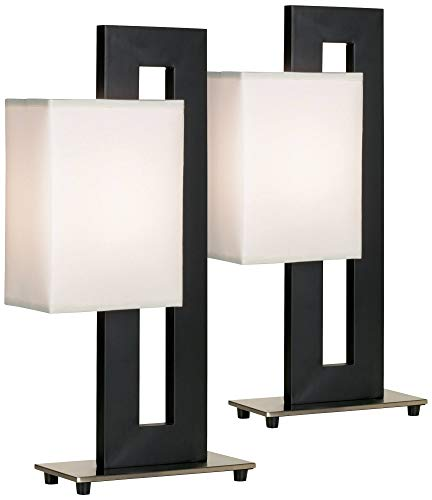 Floating Square Modern Accent Table Lamps Set of 2 Black Base White Rectangular Shade for Living Room Family Bedroom - 360 - Contemporary Style Bedrooms