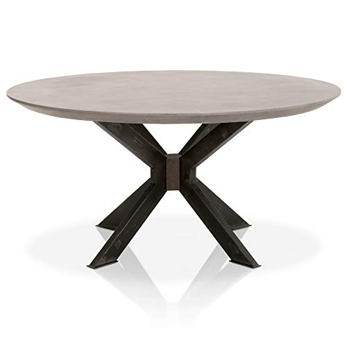 Star International Furniture Industry Round Dining Table in Ash Gray Concrete and Black Iron