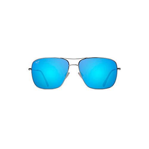 Maui Jim Cook Pines B774-17 | Polarized Silver Aviator Frame Sunglasses, Blue Hawaii Lenses, with Patented PolarizedPlus2 Lens - Pine Foundation