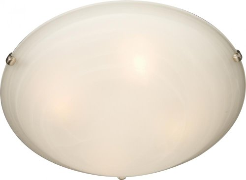 Maxim 11060MRSN Malaga 4-Light Flush Mount, Satin Nickel Finish, Marble Glass, MB Incandescent Incandescent Bulb , 40W Max., Dry Safety Rating, 2900K Color Temp, Standard Dimmable, Metal Shade Material, 1600 Rated Lumens