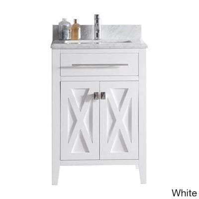 Luxe by Deluxe Vanity Wimbledon Collection 24 Inch Single Vanity with Marble Countertop Grey Grey - Collection Wimbledon