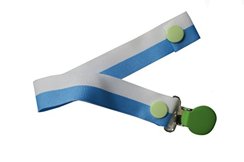 Pretty Paci Bi-Stripe Pacifier Clip, Baby Blue/White