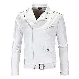 Zoylink Men's Jacket Fashion Causal Belted Motorcycle Jacket Bomber Jacket for Winter (White_X-Large)