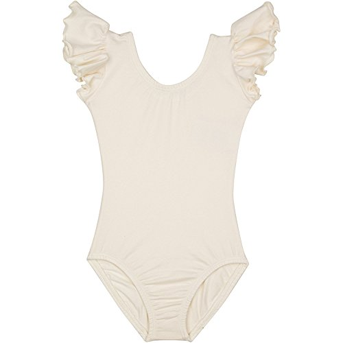 Infant Baby Girl Leotard for Dance, Gymnastics and Ballet with Flutter Ruffle Short Sleeve Lined Ivory Cream P (6-12M)