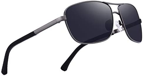 OLIEYE Men Classic Rectangle Sunglasses HD Polarized Sun glasses For Driving TR90 Legs UV400