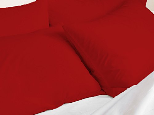 Kotton Culture Set of 2 Pillowcase Set 100% Egyptian Cotton 600 Thread Count Pillow Cover Protector Premium Hotel Quality Bedding (Standard Size- Queen/Full/Twin, Blood Red)