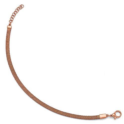 1.43mm GP Rose en argent sterling poli et texturé avec 2,5cm ext-Bracelet Femme-20cm