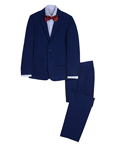 Nautica Boys' Big 4-Piece Formal Dresswear Suit Set with Bow Tie, Dark Bright Blue, 8 -