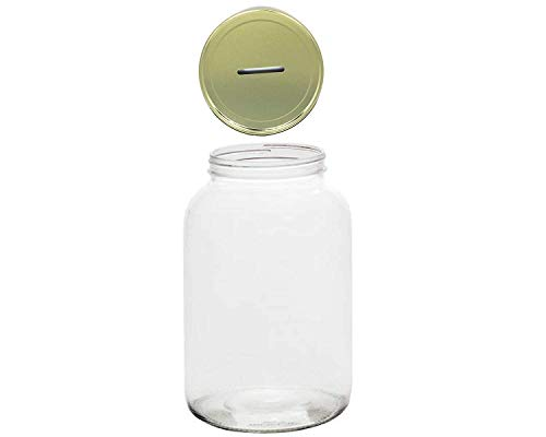 Jarming Collections-1 Gallon Mason Jar with Slotted Lid (4.25 Inch) Wide Mouth -128oz Piggy Bank for All Ages