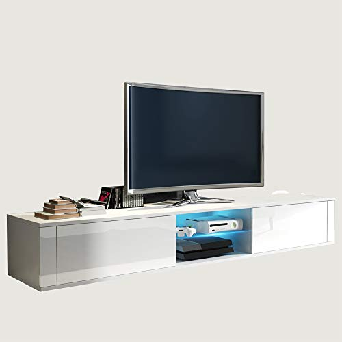 Furniture.Agency Hit TV Stand Led Multiple Finishes, White Gloss (Gloss Modern High)