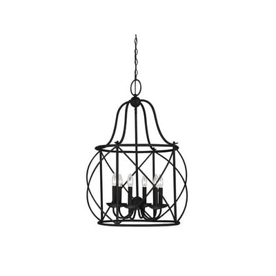 """Sea Gull Lighting 5116406-839 Six 5116406-839-Six Light Hall/Foyer, Blacksmith Finish - Dimensions - diameter: 22 1/4'' height: 31 1/4'' overall height: 153 1/4'' Canopy dimensions - diameter: 5'', height: 1'' Supplied with 144"""" wire and 120"""" chain. Supplied with wire pre-laced through chain - kitchen-dining-room-decor, kitchen-dining-room, chandeliers-lighting - 318AjxPShSL. SS400  -"""