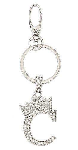 (Sometheme Special Rhinestone Stud Initial Letter Charm Keychain, Key Ring, Bag Charm, Gift Box Included (RHODIUM-C))