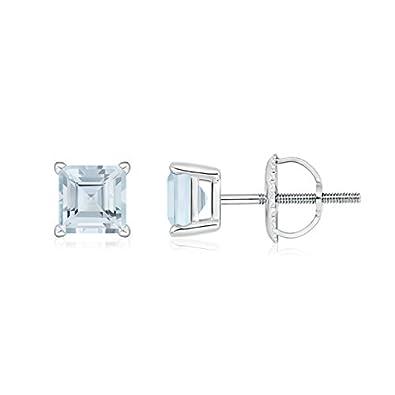 Angara Square Aquamarine Basket Stud Earrings in Platinum 4LeB0UC