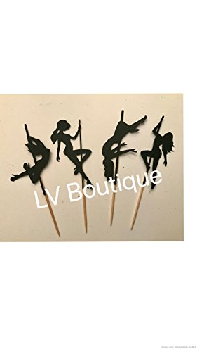 Stripper cupcake toppers, pole dancing cupcake toppers, stripper party decor , bachelorette party decor, bachelor party, pole dancing, stripper (Stripper Strippers Pole)