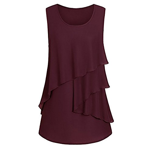 Ruched Pullover (WEUIE Clearance sale Women Plus Size Ruffles Hem Ruched Sleeveless Tank Tops Pullover T-Shirt Blouse (2XL,Wine Red ))