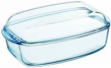 Bandeja resistente al calor e ignífugo de Pyrex,envase para asar con tapa de cristal, vidrio, 7 L