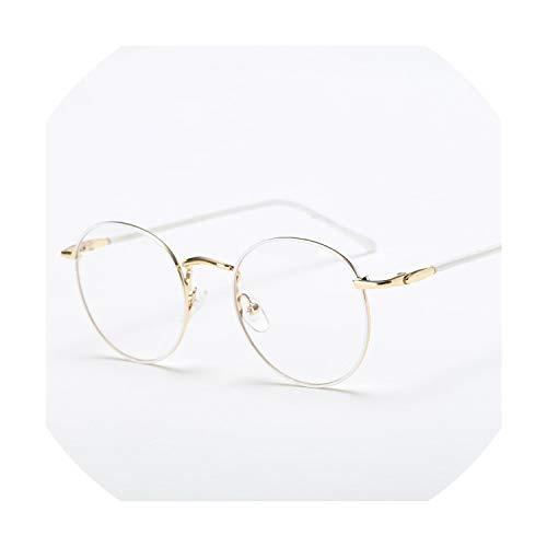 Round Metal Glasses Frame Women And Men Fashion Optical Frames Goggles Unisex Trendy Spectacles Female Elegant Eyewear,White