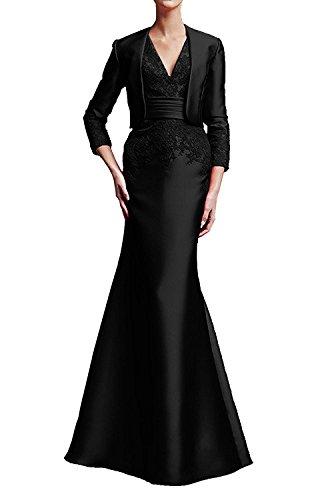 Applikation mit Brautmutterkleid Ivydressing Neu Neck Promkleid 2017 Bolero Schwarz Damen Abendkleid bodenlang aermellos Satin Etui V zSUAzpn